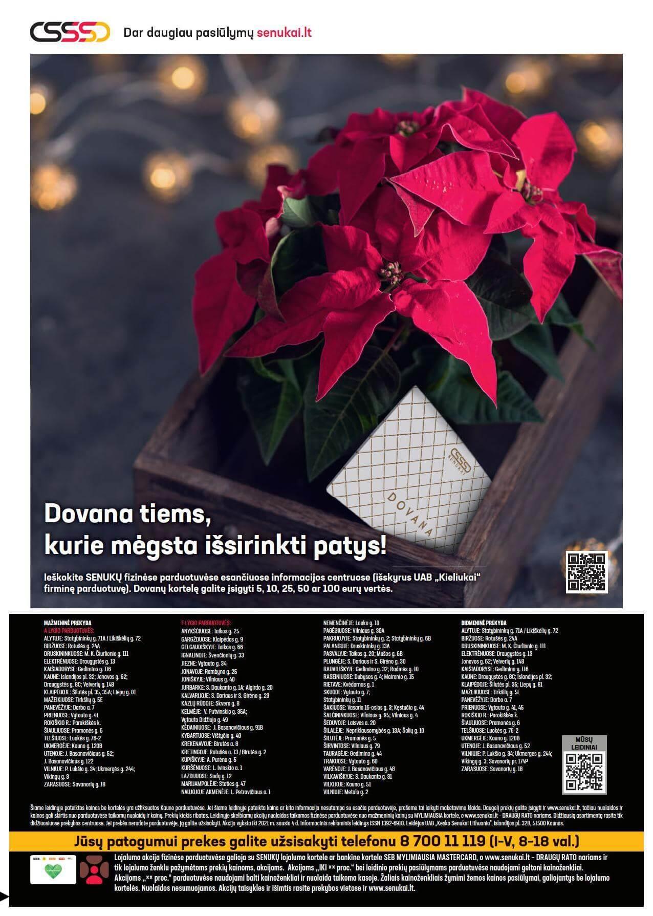 """SENUKAI akcijų ir nuolaidų leidinys Nr.24 """"Kalėdos"""" 2020.11.18 - 2021.01.04"""