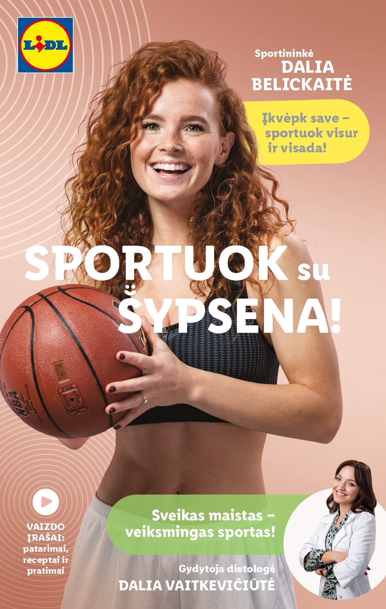 """LIDL sporto prekių katalogas """"SPORTUOK SU ŠYPSENA"""""""